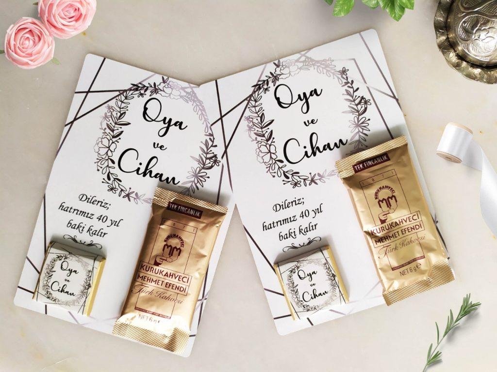 çikolata ve kahveli kart davetiye